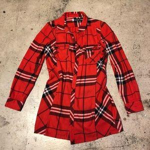 Long Volcom Red & Black Plaid Flannel!!!